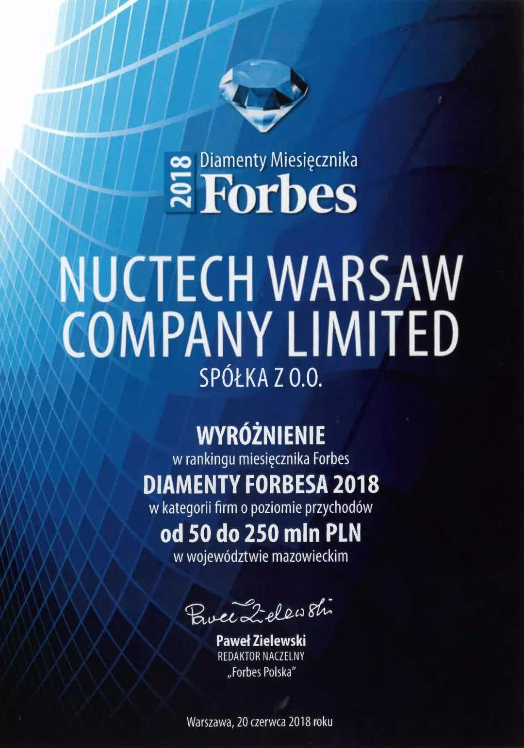 NUCTECH Warsaw Has Received the Forbes Diamonds 2018 Award.