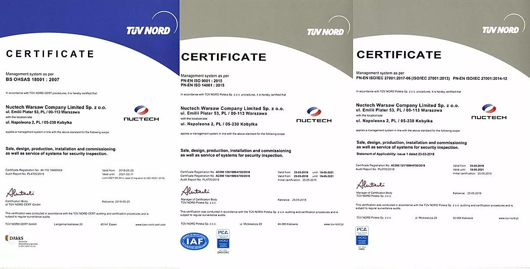 NUCTECH Warsaw Has Obtained Four Certificates of Approved Management Systems Issued by German TÜV NORD